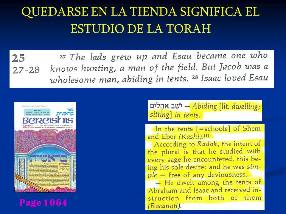 QUEDARSE EN LA TIENDA SIGNIFICA EL ESTUDIO DE LA TORAH