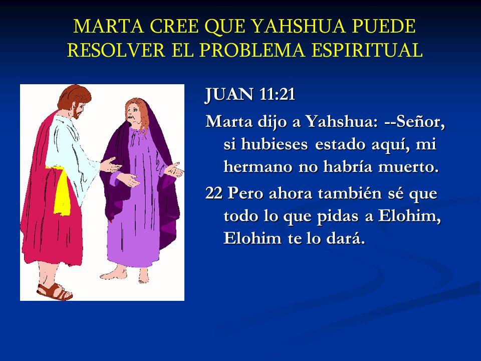 MARTA CREE QUE YAHSHUA PUEDE RESOLVER EL PROBLEMA ESPIRITUAL