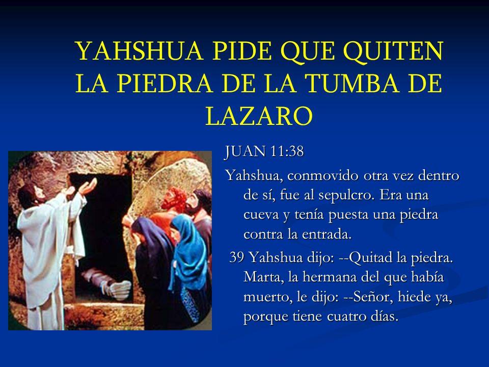YAHSHUA PIDE QUE QUITEN LA PIEDRA DE LA TUMBA DE LAZARO