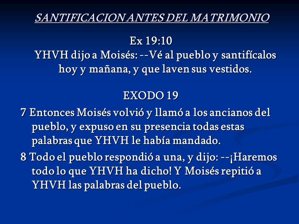 SANTIFICACION ANTES DEL MATRIMONIO