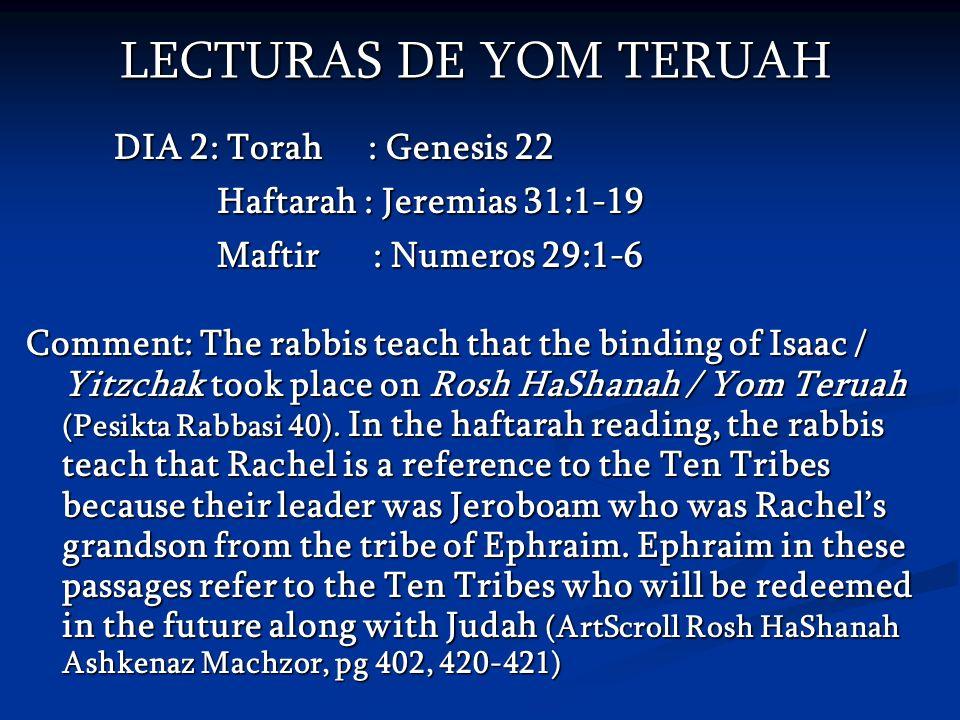 LECTURAS DE YOM TERUAH DIA 2: Torah : Genesis 22