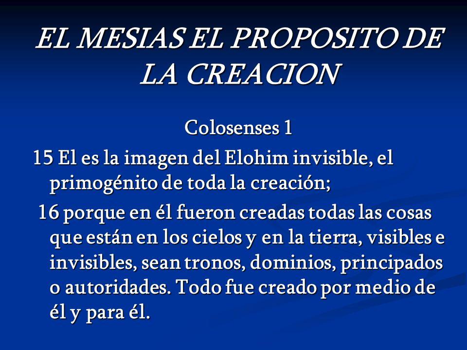 EL MESIAS EL PROPOSITO DE LA CREACION