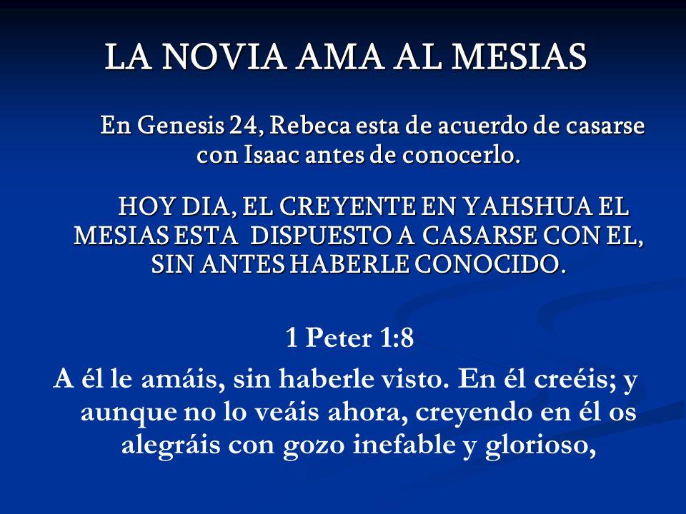 LA NOVIA AMA AL MESIAS 1 Peter 1:8