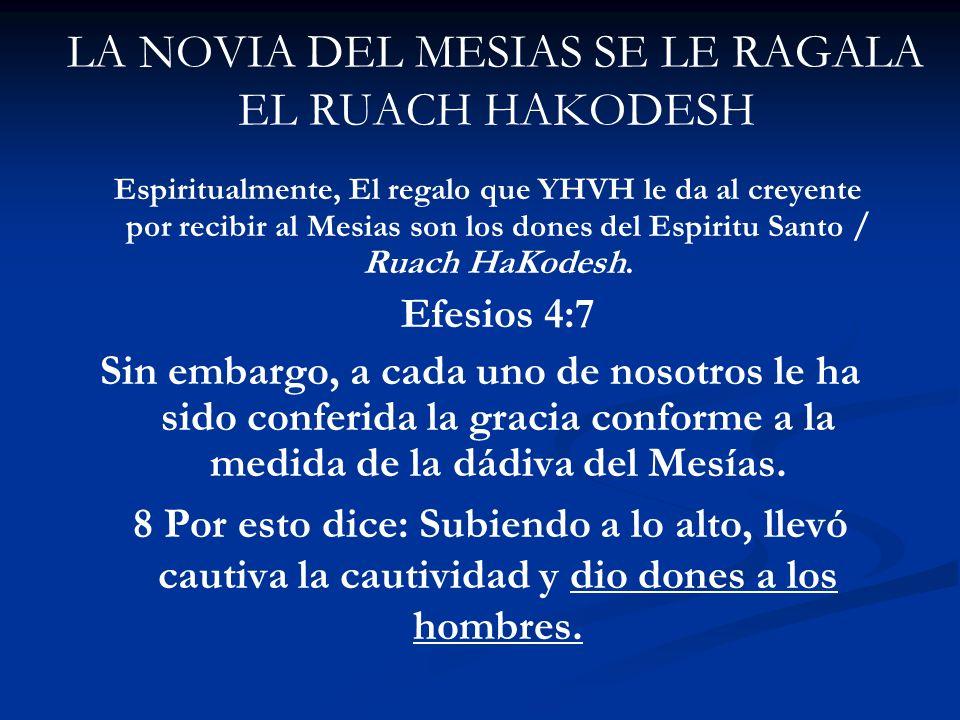LA NOVIA DEL MESIAS SE LE RAGALA EL RUACH HAKODESH