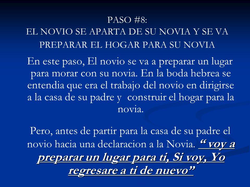PASO #8: EL NOVIO SE APARTA DE SU NOVIA Y SE VA PREPARAR EL HOGAR PARA SU NOVIA