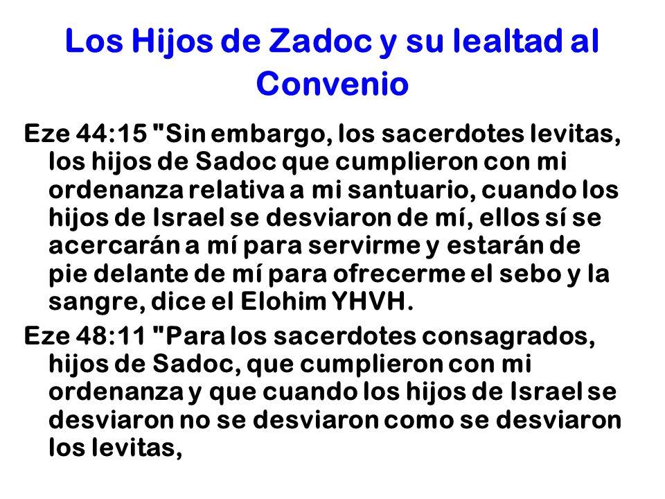Los Hijos de Zadoc y su lealtad al Convenio