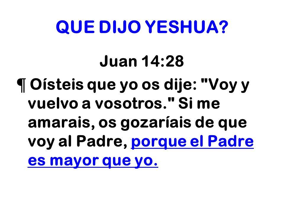 QUE DIJO YESHUA Juan 14:28.