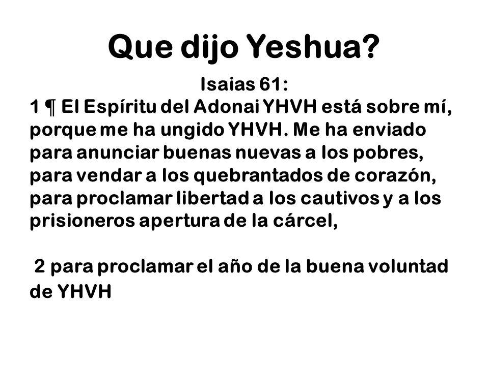 Que dijo Yeshua Isaias 61: