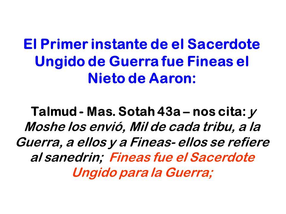 El Primer instante de el Sacerdote Ungido de Guerra fue Fineas el Nieto de Aaron: