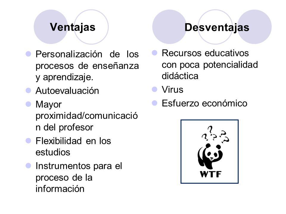 Ventajas Desventajas. Personalización de los procesos de enseñanza y aprendizaje. Autoevaluación.