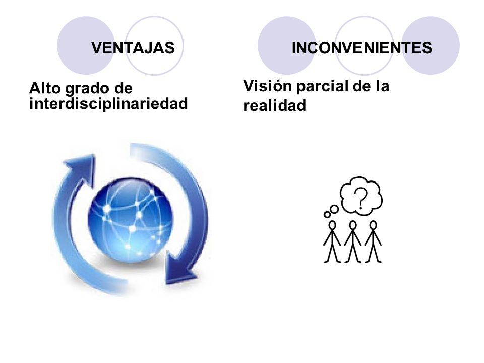 VENTAJAS INCONVENIENTES Alto grado de interdisciplinariedad Visión parcial de la realidad