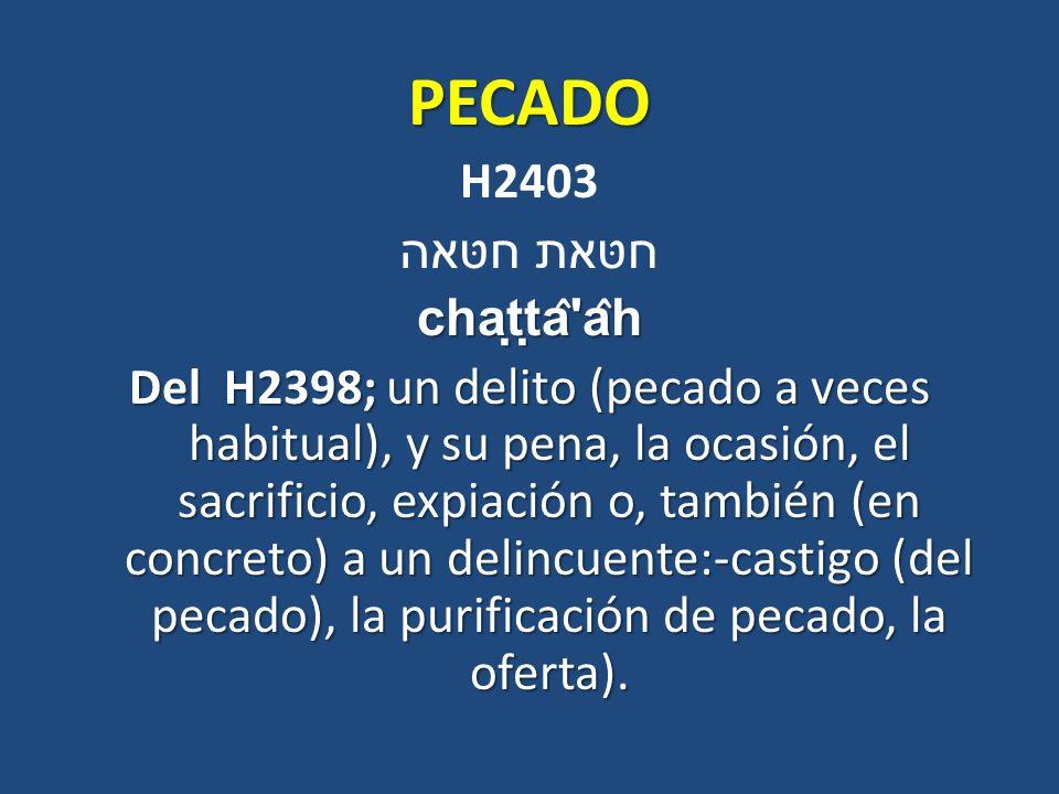 PECADO H2403 חטּאת חטּאה chaṭṭâ âh