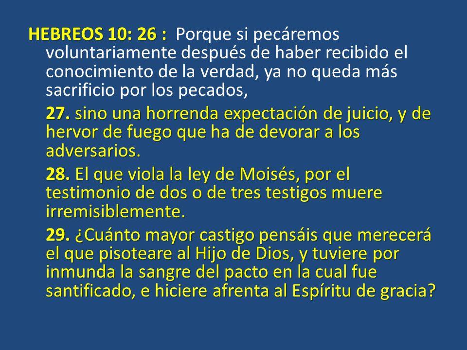 HEBREOS 10: 26 : Porque si pecáremos voluntariamente después de haber recibido el conocimiento de la verdad, ya no queda más sacrificio por los pecados, 27.