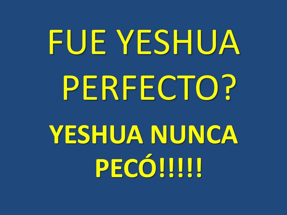 FUE YESHUA PERFECTO YESHUA NUNCA PECÓ!!!!!