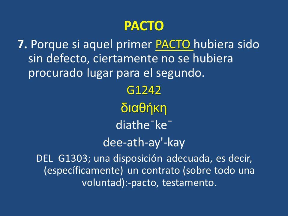 PACTO 7. Porque si aquel primer PACTO hubiera sido sin defecto, ciertamente no se hubiera procurado lugar para el segundo.
