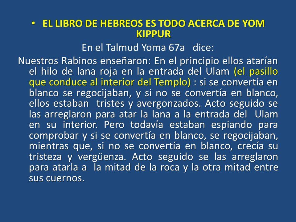 EL LIBRO DE HEBREOS ES TODO ACERCA DE YOM KIPPUR