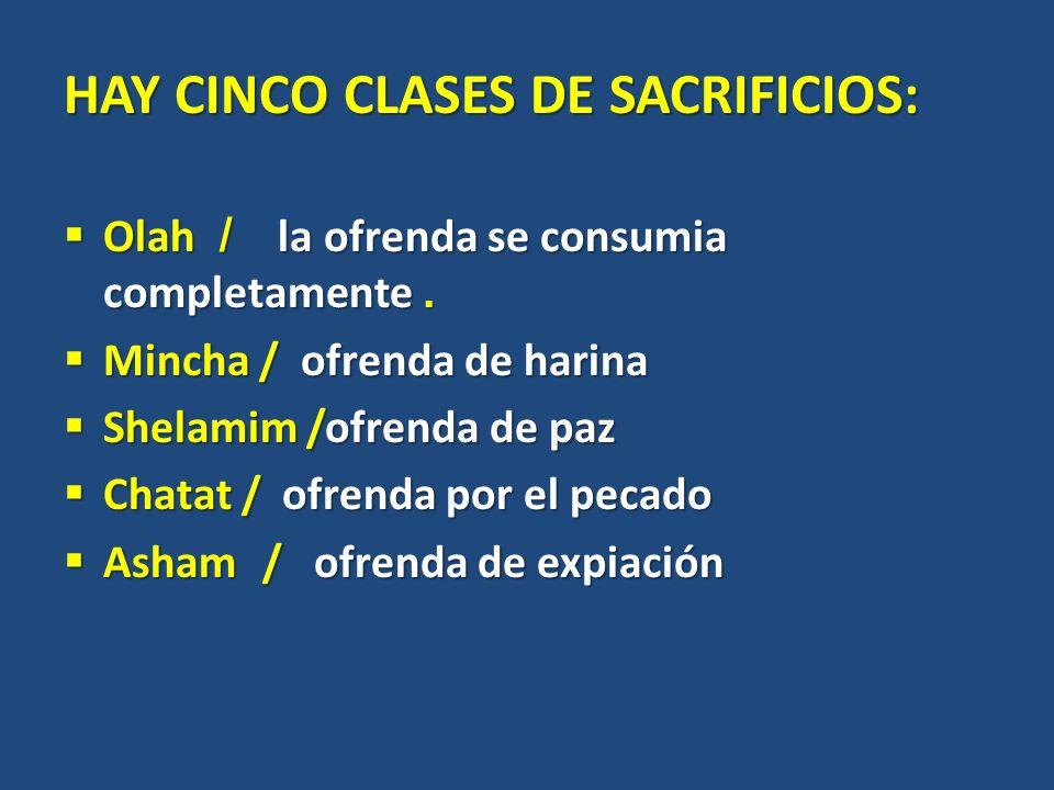 HAY CINCO CLASES DE SACRIFICIOS: