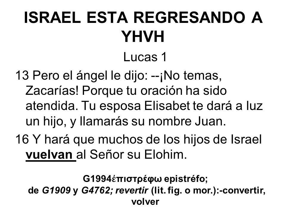 ISRAEL ESTA REGRESANDO A YHVH