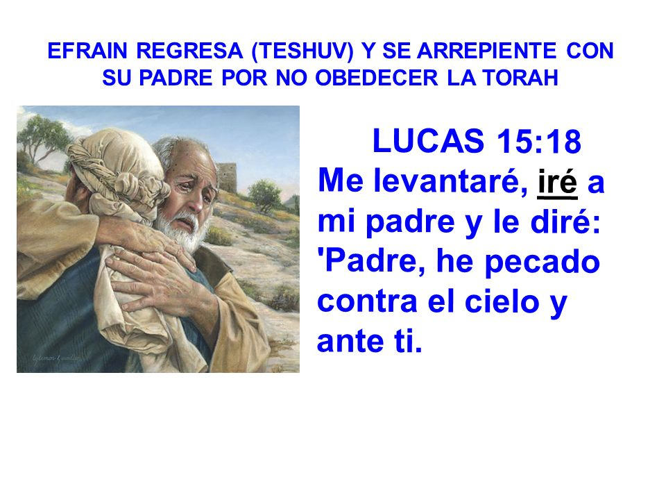 EFRAIN REGRESA (TESHUV) Y SE ARREPIENTE CON SU PADRE POR NO OBEDECER LA TORAH