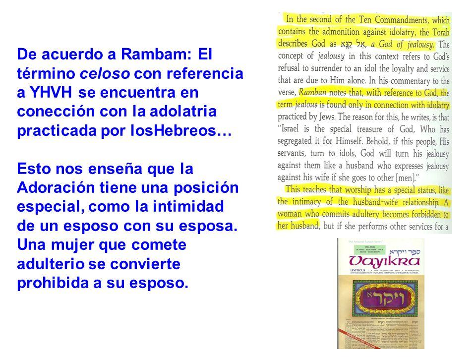 De acuerdo a Rambam: El término celoso con referencia a YHVH se encuentra en conección con la adolatria practicada por losHebreos…