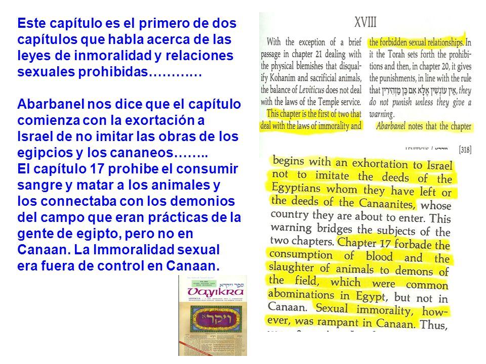 Este capítulo es el primero de dos capítulos que habla acerca de las leyes de inmoralidad y relaciones sexuales prohibidas…………