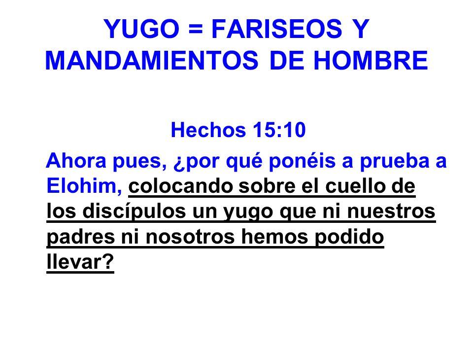YUGO = FARISEOS Y MANDAMIENTOS DE HOMBRE