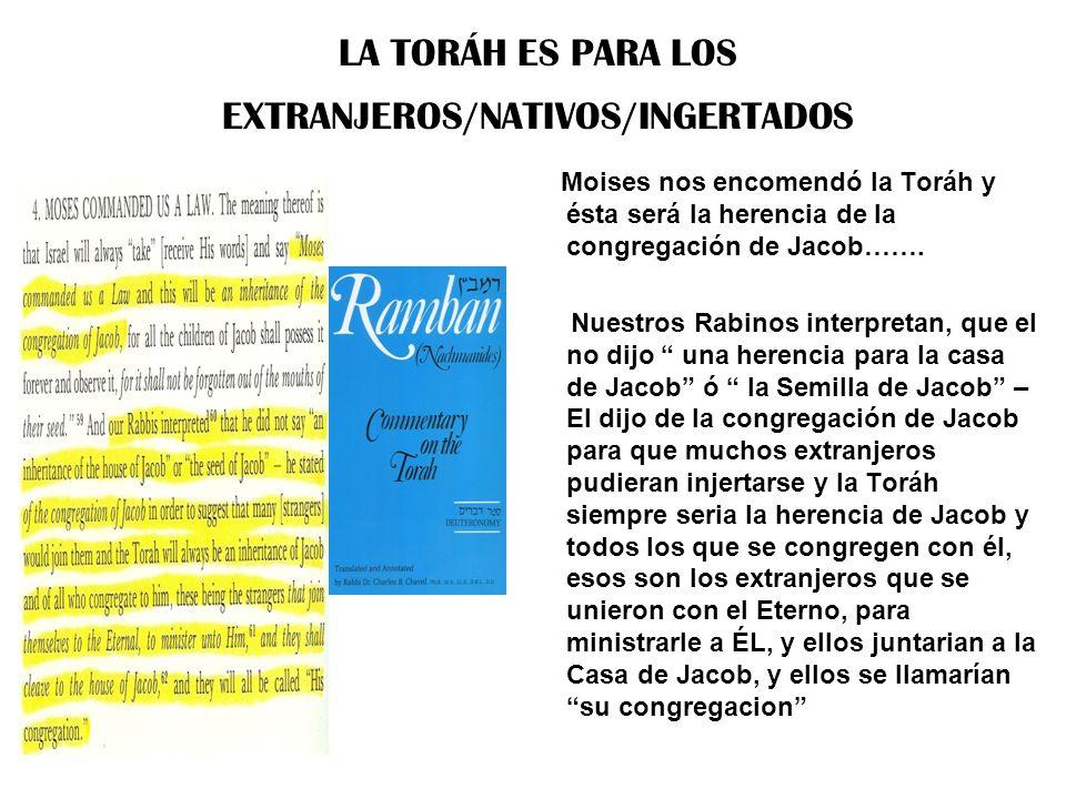 LA TORÁH ES PARA LOS EXTRANJEROS/NATIVOS/INGERTADOS