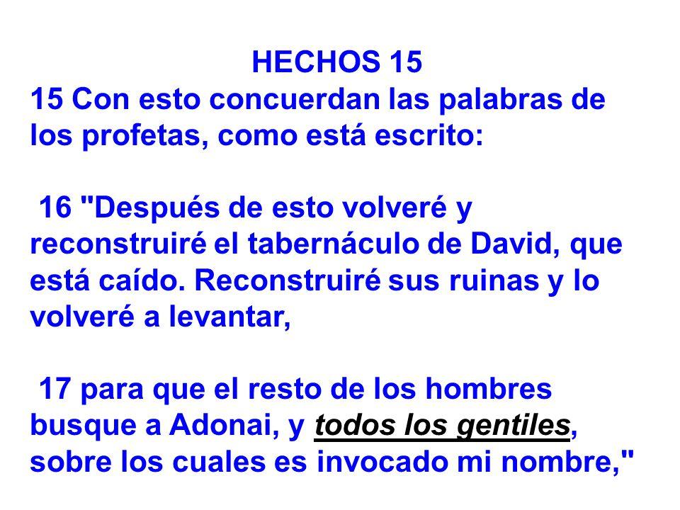 HECHOS 1515 Con esto concuerdan las palabras de los profetas, como está escrito: