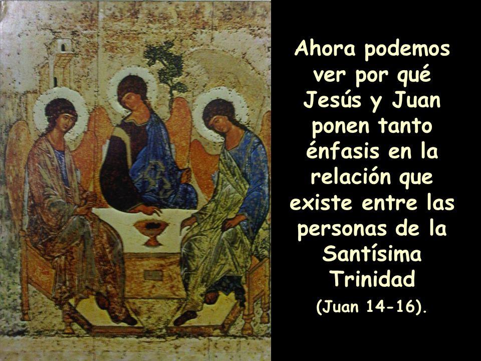 Ahora podemos ver por qué Jesús y Juan ponen tanto énfasis en la relación que existe entre las personas de la Santísima Trinidad (Juan 14-16).