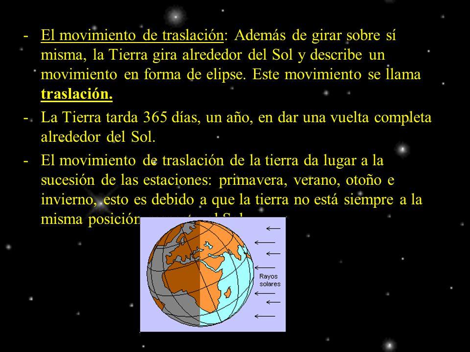 El movimiento de traslación: Además de girar sobre sí misma, la Tierra gira alrededor del Sol y describe un movimiento en forma de elipse. Este movimiento se llama traslación.