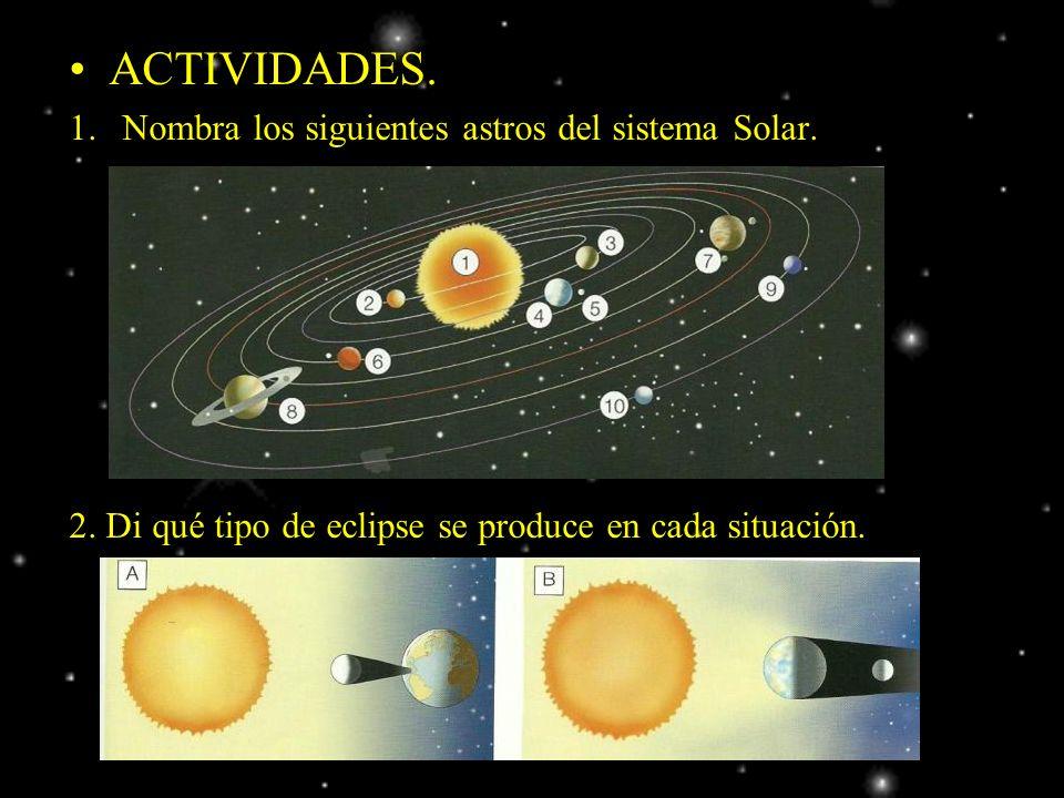 ACTIVIDADES. Nombra los siguientes astros del sistema Solar.