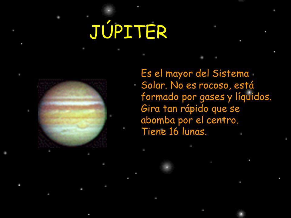 JÚPITER Es el mayor del Sistema Solar. No es rocoso, está formado por gases y líquidos. Gira tan rápido que se abomba por el centro.