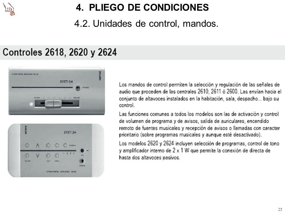 4. PLIEGO DE CONDICIONES 4.2. Unidades de control, mandos.