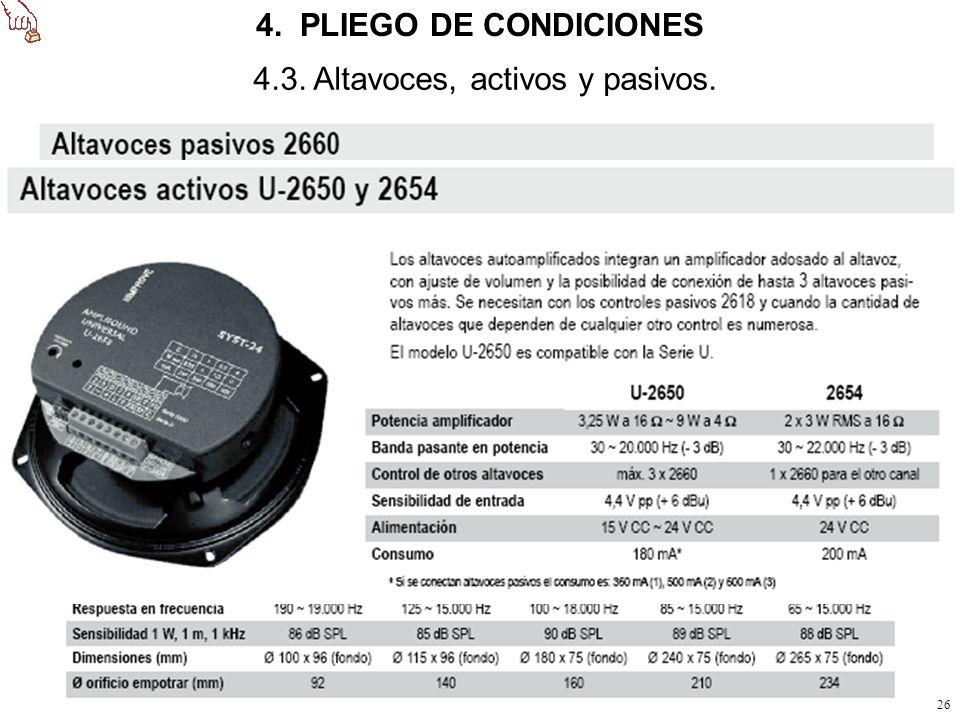 4. PLIEGO DE CONDICIONES 4.3. Altavoces, activos y pasivos.