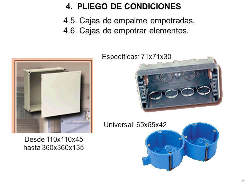 4.5. Cajas de empalme empotradas. 4.6. Cajas de empotrar elementos.