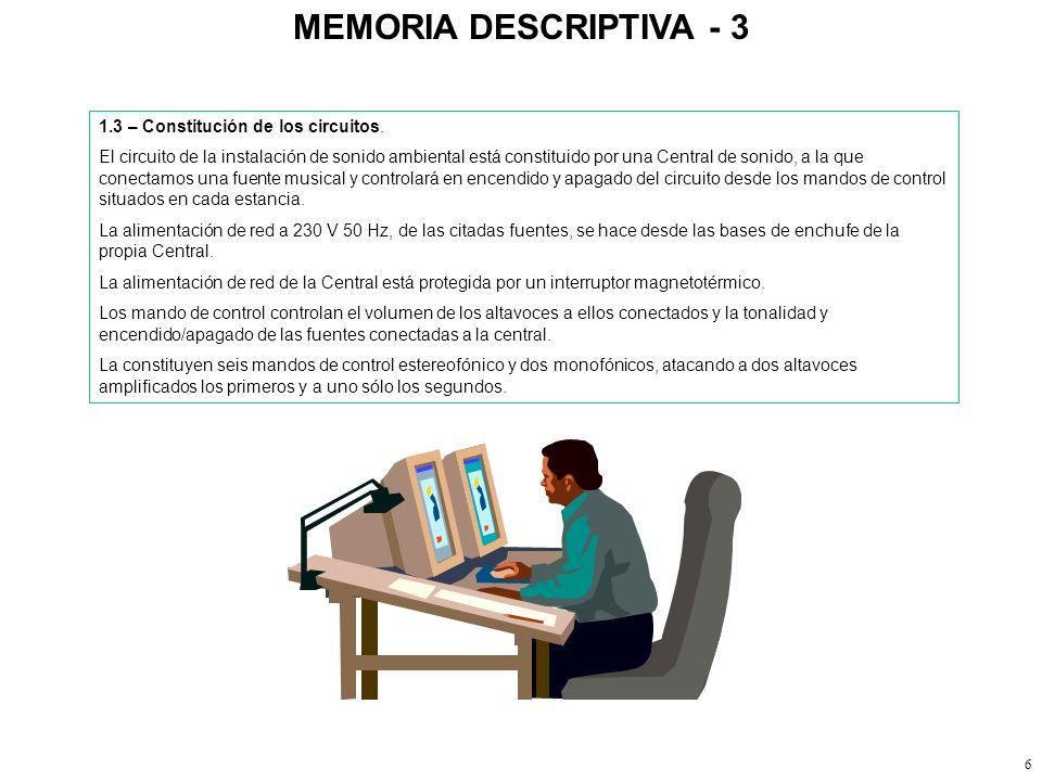 MEMORIA DESCRIPTIVA - 3 1.3 – Constitución de los circuitos.