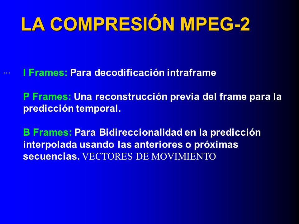 LA COMPRESIÓN MPEG-2 ... I Frames: Para decodificación intraframe