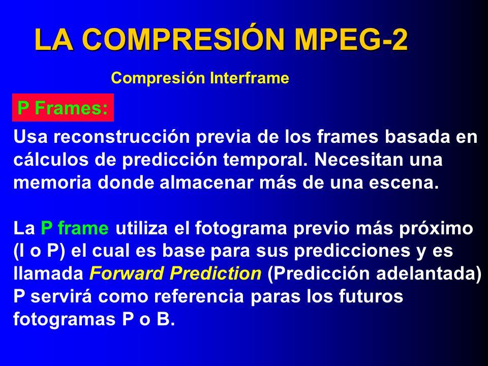 LA COMPRESIÓN MPEG-2 P Frames: