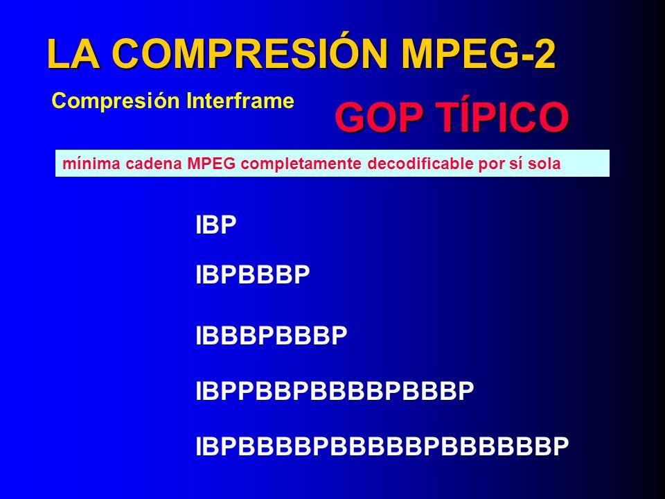 LA COMPRESIÓN MPEG-2 GOP TÍPICO IBP IBPBBBP IBBBPBBBP IBPPBBPBBBBPBBBP