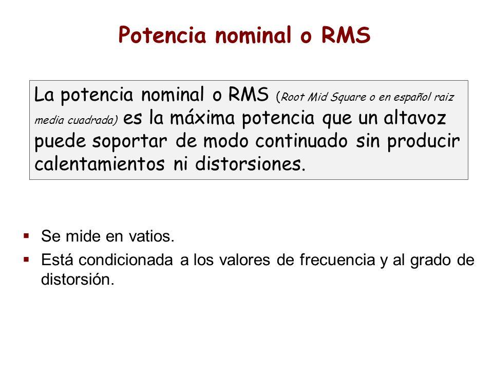Potencia nominal o RMS