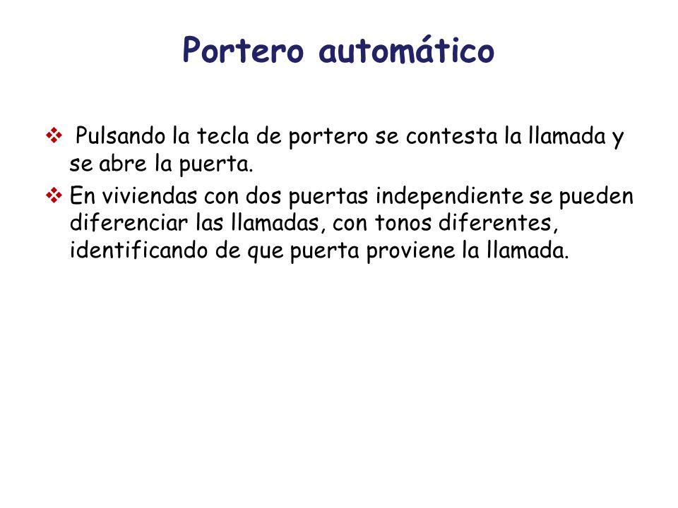 Portero automático Pulsando la tecla de portero se contesta la llamada y se abre la puerta.