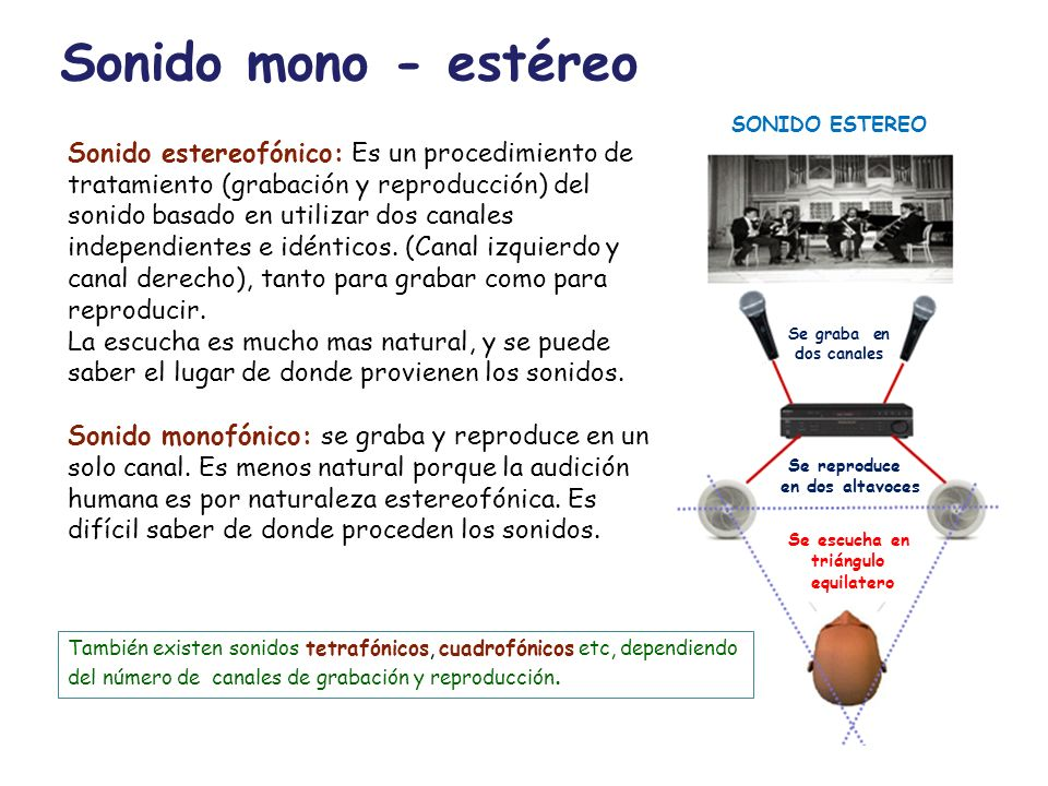 Sonido mono - estéreo SONIDO ESTEREO.