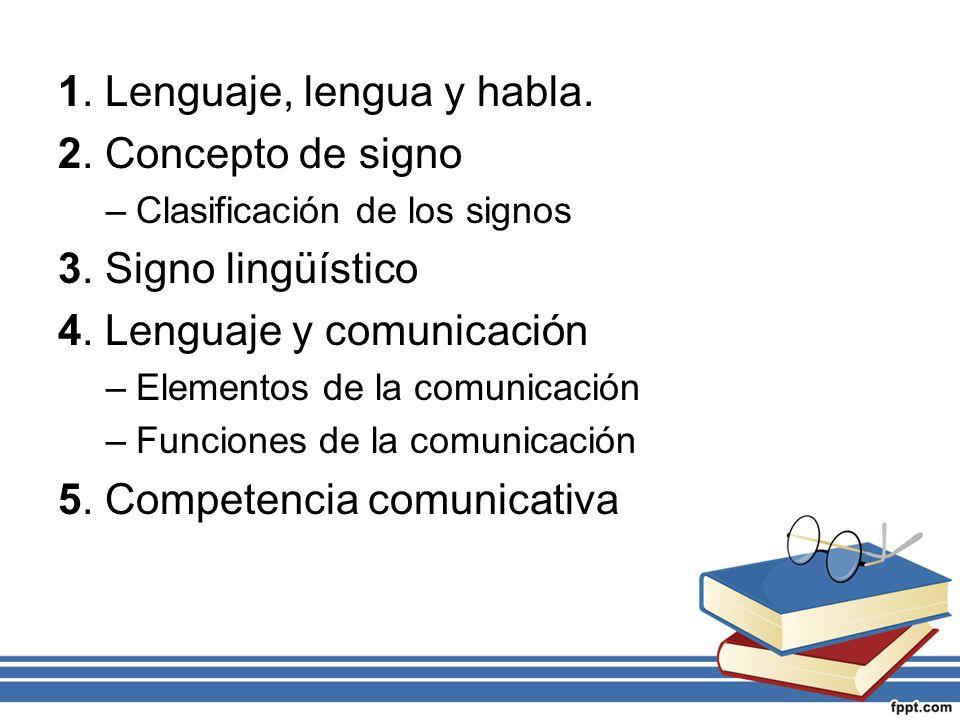 1. Lenguaje, lengua y habla. 2. Concepto de signo 3. Signo lingüístico