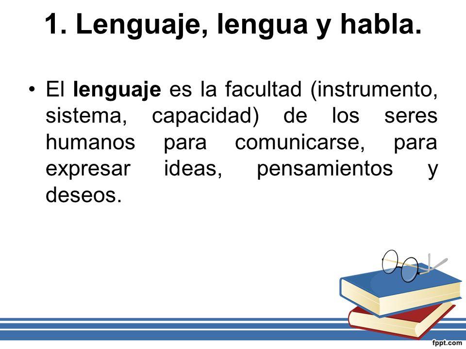 1. Lenguaje, lengua y habla.