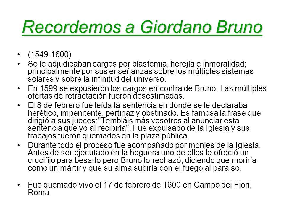 Recordemos a Giordano Bruno