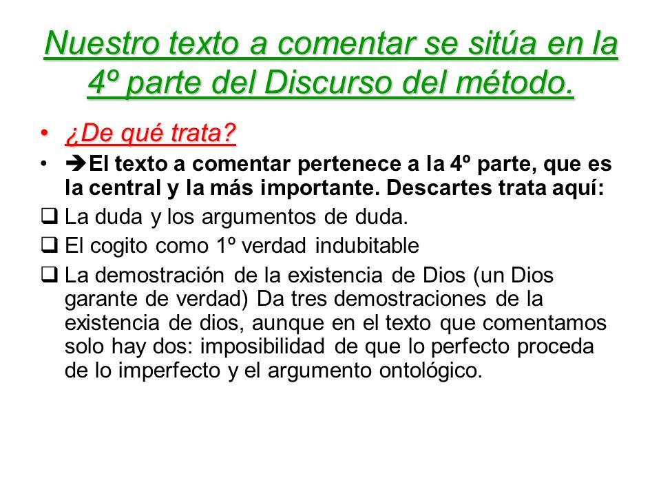 Nuestro texto a comentar se sitúa en la 4º parte del Discurso del método.
