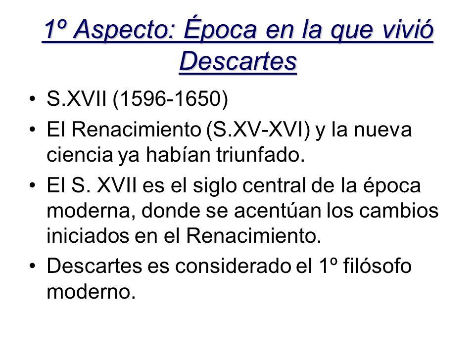 1º Aspecto: Época en la que vivió Descartes