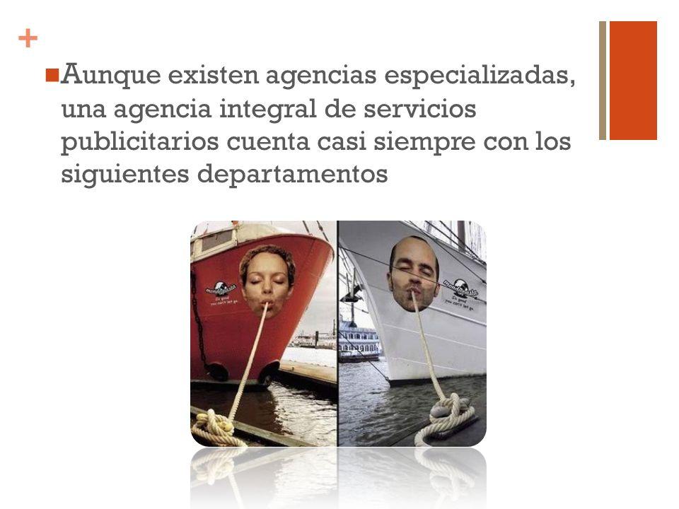 Aunque existen agencias especializadas, una agencia integral de servicios publicitarios cuenta casi siempre con los siguientes departamentos