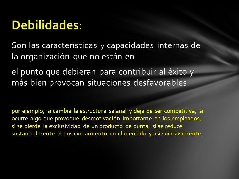 Debilidades: Son las características y capacidades internas de la organización que no están en.