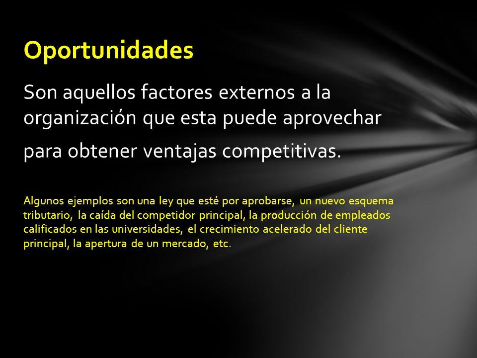 Oportunidades Son aquellos factores externos a la organización que esta puede aprovechar. para obtener ventajas competitivas.